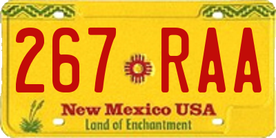 NM license plate 267RAA