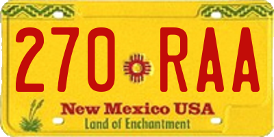 NM license plate 270RAA