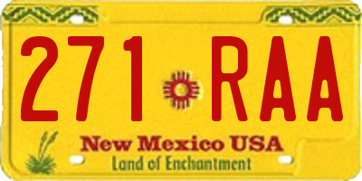 NM license plate 271RAA