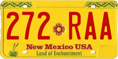 NM license plate 272RAA