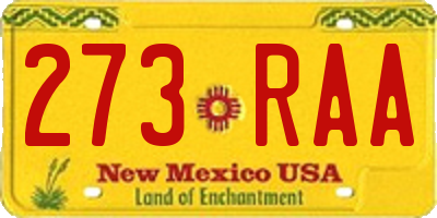 NM license plate 273RAA