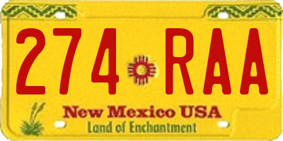 NM license plate 274RAA
