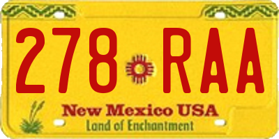 NM license plate 278RAA
