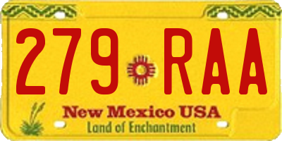 NM license plate 279RAA