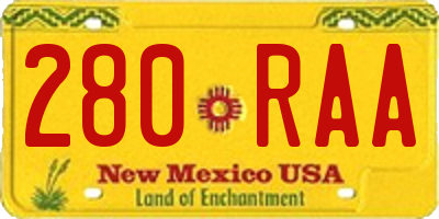 NM license plate 280RAA
