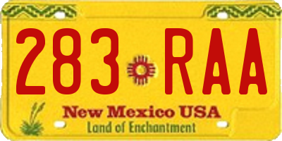 NM license plate 283RAA