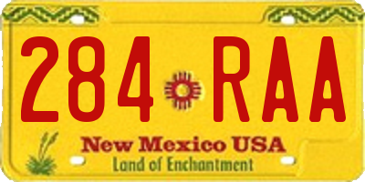 NM license plate 284RAA