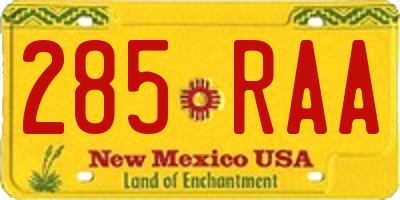 NM license plate 285RAA
