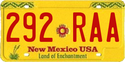 NM license plate 292RAA