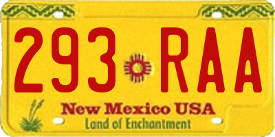 NM license plate 293RAA