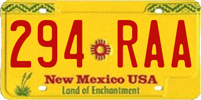 NM license plate 294RAA