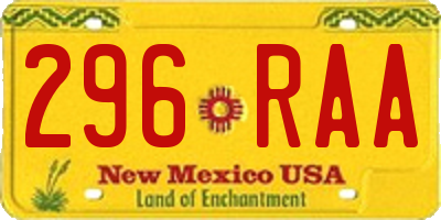 NM license plate 296RAA