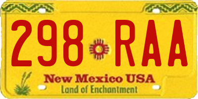 NM license plate 298RAA