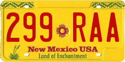 NM license plate 299RAA