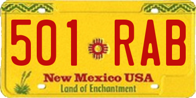 NM license plate 501RAB