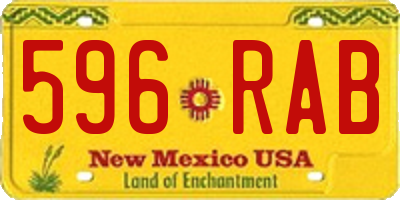 NM license plate 596RAB