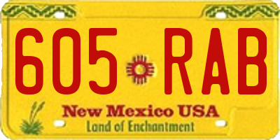 NM license plate 605RAB