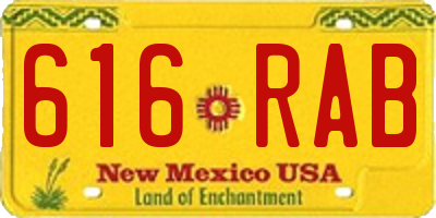 NM license plate 616RAB