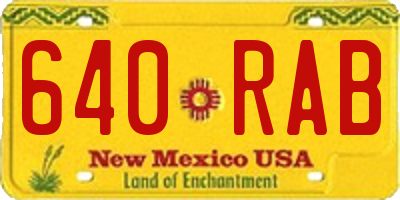 NM license plate 640RAB