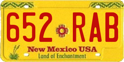 NM license plate 652RAB