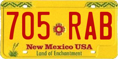 NM license plate 705RAB