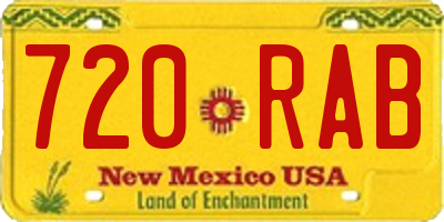 NM license plate 720RAB