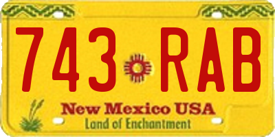 NM license plate 743RAB