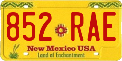 NM license plate 852RAE