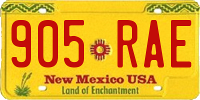 NM license plate 905RAE