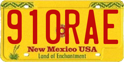 NM license plate 910RAE