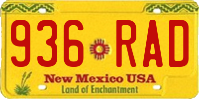 NM license plate 936RAD