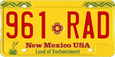 NM license plate 961RAD