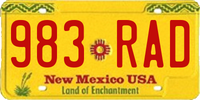 NM license plate 983RAD