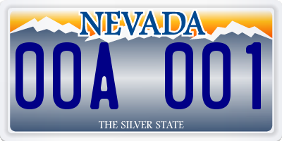 NV license plate 00A001