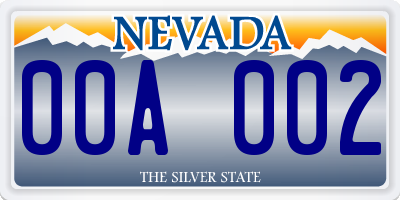 NV license plate 00A002