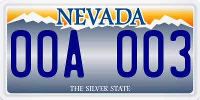 NV license plate 00A003