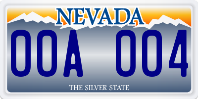 NV license plate 00A004