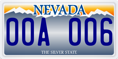 NV license plate 00A006