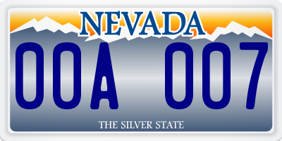 NV license plate 00A007