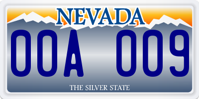 NV license plate 00A009