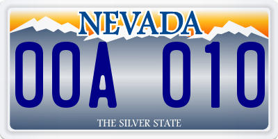 NV license plate 00A010