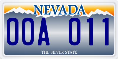 NV license plate 00A011