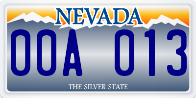 NV license plate 00A013