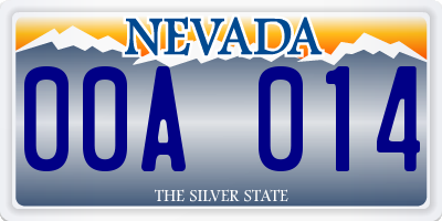 NV license plate 00A014