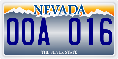 NV license plate 00A016