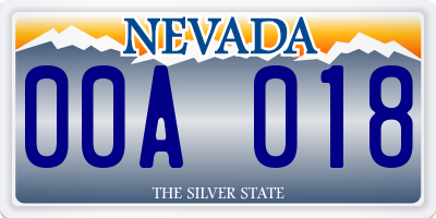 NV license plate 00A018
