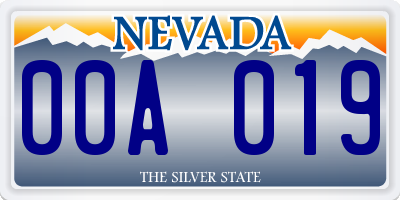NV license plate 00A019