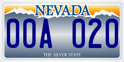 NV license plate 00A020