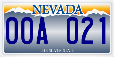 NV license plate 00A021