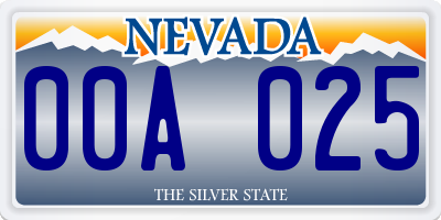 NV license plate 00A025